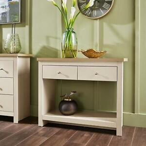 Cream Oak Console Table 2 Drawer Telephone Table Metal Handles Hallway Storage