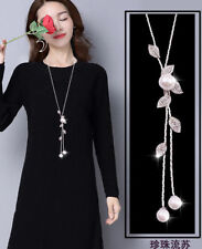 Women's Crystal Pearl Sweater Chain Long Pendant Necklace Fashion Jewellery UK