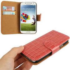 Book Tasche Croco Style für Samsung i9500 Galaxy S4 in rosa Hülle Case Cover