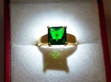 Emerald Solitaire Yellow Gold Filled Costume Rings
