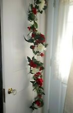Christmas Holiday 5 Ft. Floral Garland Roses Berries Poinsettia, etc Never Used