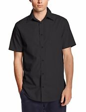 Men's Lee Black Dress Shirt Broadcloth Button Down Short Sleeve Sizes S to XL