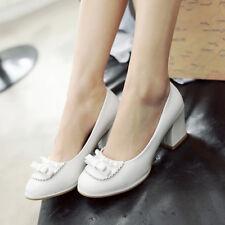 WOmen's High Block heels ROund toe Platform Girls Mary Janes pearls Pumps Shoes