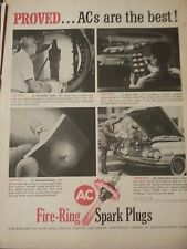 1960 AC Spark Plugs Proved Best Fire Ring Demonstration Original Print Ad