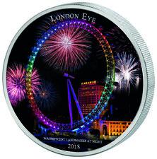 Ivory Coast 2018 2000 Francs London Eye Landmarks at Night 2oz Silver Coin