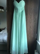 Prom / Bridesmaid dress long chiffon mint green size 12 Pettit length Brand new