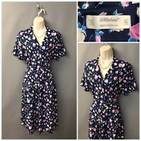 St Michael M&S Navy Floral Polyester Dress UK 12 EUR 40 Made in UK