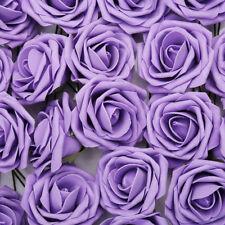 50/100 Artificial Foam Roses fake Flowers &stem Wedding Bride Bouquet Home Decor