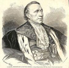 FELIX BARTHE MINISTRE DE LA JUSTICE NARBONNE GRAVURE ILLUSTRATION 1863