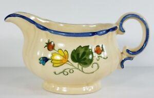 Vernon Ware by Metiox beige blue Gigi floral 6 in ceramic gravy boat Made in USA