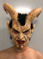 Halloween Scary Devil Satan Lucifer Latex Full Face Horn Mask Cosplay Party Prop