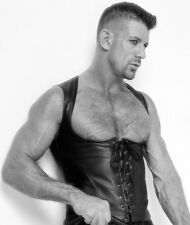 New Genuine leather sexy under chest vest with lace up front Corset Details Gay