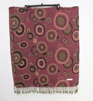 Pashmina Luxury Silk Blend Scarf Wrap Purple Circle Print Fringe Womens