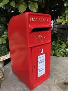 ER Royal Mail Post Box Post Office Box Red British mailbox with steel back box