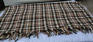VINTAGE PENDLETON BROWN Tartan PLAID 100% WOOL BLANKET THROW  Fringe 50 x 58