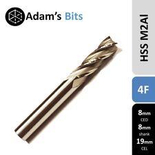8mm x 8mm x 19mm spiral 4 flute HSS slot end mill CNC router tool bit cutter