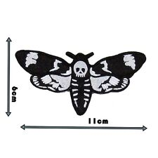 Deaths Head Moth Badge Patch Embroidered Sew Black And White Motif Applique 179