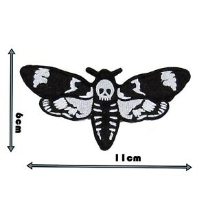 Deaths Head Moth Iron On Badge Patch Embroidered Black And White Motif  P179