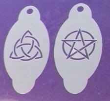 Pentacle & Triquetra face painting stencils   reusable  Gothic  Halloween Wiccan