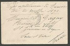 "FRENCH COLONIES ,TUNISIA MAY 1881 ""BRIGADE DE RENFORT & AFRIQUE ,BLUE CACHET"