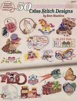 50 Cross Stitch Designs by Sam Hawkins, Counted Cross Stitch Booklet ASN 3555
