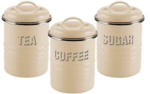 Typhoon Vintage Tea Coffee Sugar Canister Set Cream