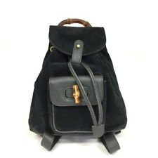 100% Authentic GUCCI Bamboo Handle Black  Suede Leather Back pack/40190
