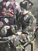 C1900 Japan Japanese Geisha Girls x 3 Postcard Hand Coloured with Tea Service