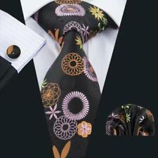 BNWT Mens Black Multi Paisley Silk Tie Handkerchief Hanky Cufflinks GIFT SET