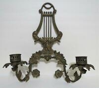 antique brass wall sconce candle holder light goose & music lyre motif Victorian