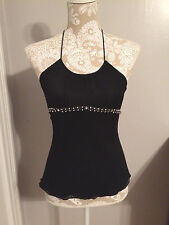Halter Top-Size XS-Express Design Studio-EUC-Silver Black-100% Silk-Women's-Bead