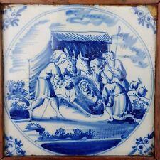 Antique 18thC.Dutch Delft Blue White Bible Biblical Religious Tile Jesus in Krib