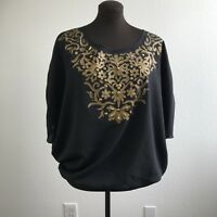 Lane Bryant Womens Top Loose Dolman Banded Waist Gold Embellished Size 14 16