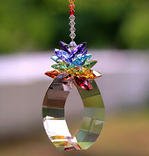 "2"" Finely Cut View Energy Gate SunCatcher + Starburst Chakra Crown mw Swarovski"