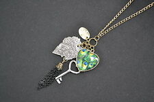 Steampunk Peacock Necklace Feather Heart Charms Key Leaf Vintage Antiqued