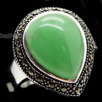 RARE GREEN JADE 925 STERLING SILVER RING SIZE 7/8/9/10 JEWELRY