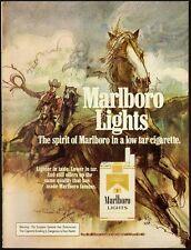 1976 Vintage ad for Marlboro Lights Cigarettes/Nice Horse Sketch (033013)