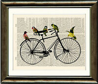 Antique Book page Art Print - Birds on a Bicycle