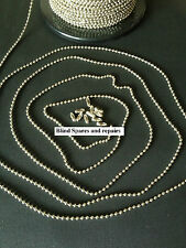 2 METRES METAL CHAIN NICKEL PLATED/CHROME COLOUR No.6/3.2mm FOR VERTICAL BLINDS