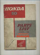 Genuine Honda 50 C102 Super Cub (1960-on) libro catálogo de lista de piezas Manual C 102