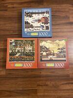 Lot Of 3 Charles Wysocki's 1000 Piece Puzzle Americana Milton Bradley Hasbro