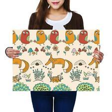 A2 | Cartoon Woodland Animal Fox Bird Size A2 Poster Print Photo Art Gift #13029