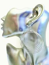 Shiny Silver Tone Hoop Earrings Dangle Drop Hoops in a Layered Design