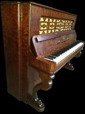 Outstanding Victorian  burled  walnut  Steinway upright  grand piano.