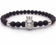 18 Birthday Men New Ebay Adjustable Bracelet Crowned Lion Black Matte Onyx gift