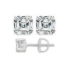 4Ct Asscher Cut Earrings Studs Real 18K White Gold Brilliant Screw Back