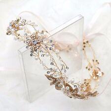 Vintage Wedding Bridal Rhinestone Crystal Gold Leaf Pearl Hair Tiara Headpiece