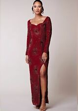 Virgos Lounge Maroon Red Embellished Long Sleeve Maxi Wedding Party Dress 12 -16