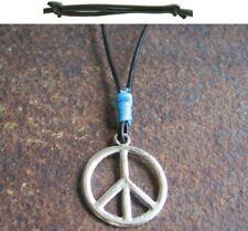 Peace Halskette Anhänger Hippie Surfer blau Herren Leder schwarz Damen neu Kette