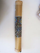 Hand Carved Palm Wood Hand painted Dotted Designs  Rain stick Bali Discounted